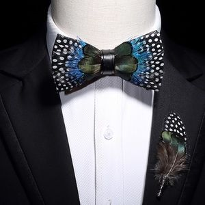 Handmade Feather Bow Tie Boutonnière Brooch Set